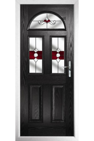 The Greater London Black Composite Door with Red Crystal Bohemia