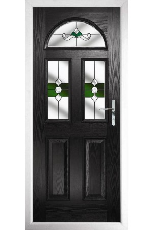 The Greater London Black Composite Door with Green Crystal Bohemia