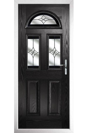 The Greater London Black Composite Door with Black Crystal Harmony