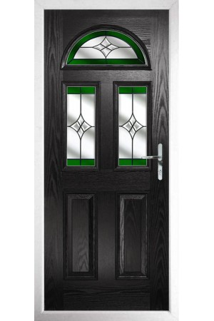 The Greater London Black Composite Door with Green Crystal Harmony