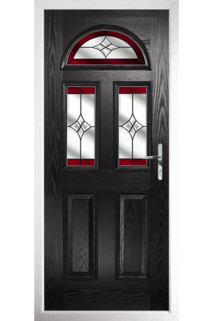 The Greater London Black Composite Door with Red Crystal Harmony