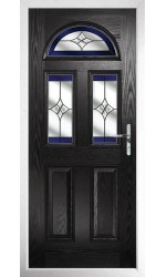 The Greater London Black Composite Door with Blue Crystal Harmony
