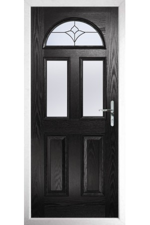 The Greater London Black Composite Door with Crystal Tulip Arch