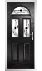 The Greater London Black Composite Door with Black Fusion Ellipse