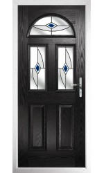 The Greater London Black Composite Door with Blue Fusion Ellipse