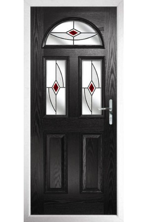 The Greater London Black Composite Door with Red Fusion Ellipse