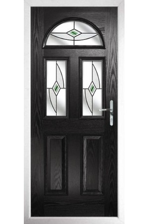The Greater London Black Composite Door with Green Fusion Ellipse