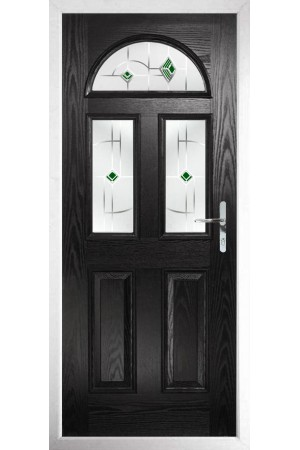 The Greater London Black Composite Door with Green Murano