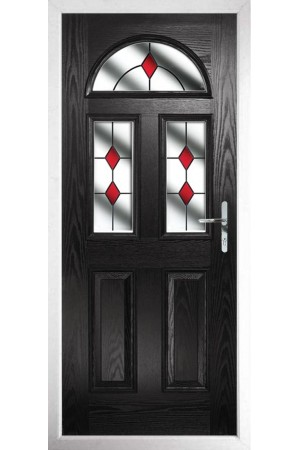 The Greater London Black Composite Door with Red Diamonds