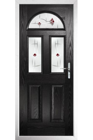 The Greater London Black Composite Door with Red Murano