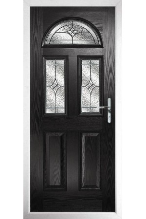 The Greater London Black Composite Door with Zinc Art Elegance