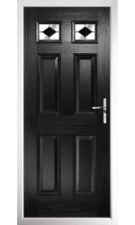 The Ilkeston Black Composite Door with Black Diamonds