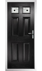 The Ilkeston Black Composite Door with Black Murano