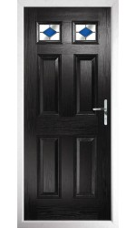 The Ilkeston Black Composite Door with Blue Diamonds