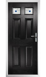 The Ilkeston Black Composite Door with Blue Murano