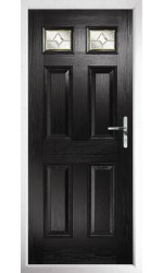 The Ilkeston Black Composite Door with Brass Art Clarity