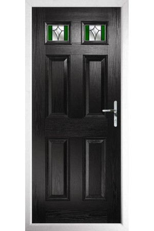 The Ilkeston Black Composite Door with Green Crystal Harmony
