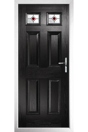 The Ilkeston Black Composite Door with Red Fusion Ellipse