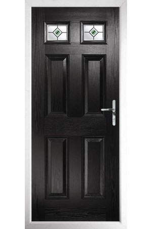 The Ilkeston Black Composite Door with Green Fusion Ellipse