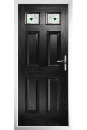 The Ilkeston Black Composite Door with Green Murano