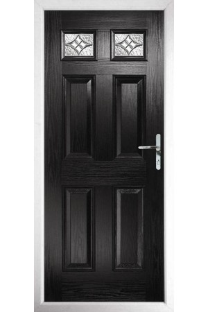 The Ilkeston Black Composite Door with Zinc Art Elegance