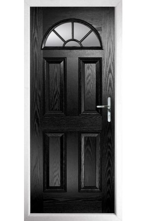 The Jamestown Black Composite Door with Clear Glazing