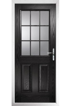 The Kent Black Composite Door with Clear Glazing