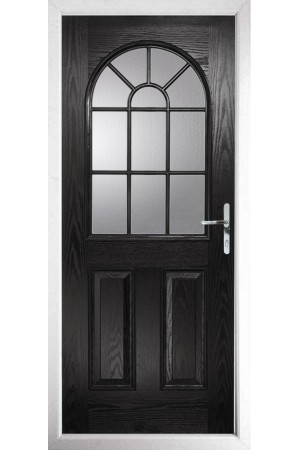 The Lancashire Black Composite Door with Clear Glazing