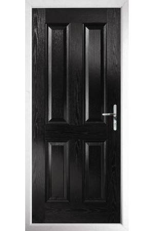 The Middlesbrough Black Composite Door with Clear Glazing