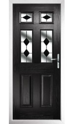 The Oxfordshire Black Composite Door with Black Diamonds