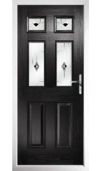 The Oxfordshire Black Composite Door with Black Murano
