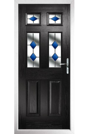 The Oxfordshire Black Composite Door with Blue Diamonds