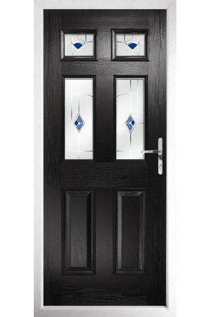 The Oxfordshire Black Composite Door with Blue Murano