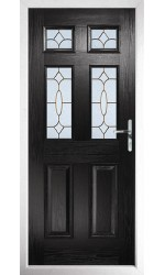 The Oxfordshire Black Composite Door with Brass Art Clarity
