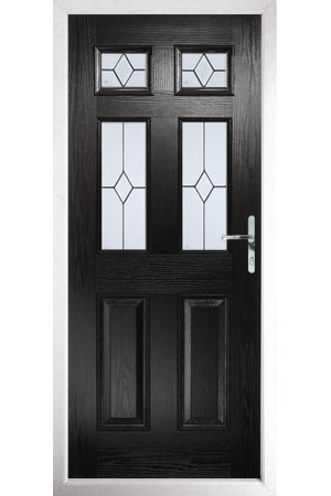 The Oxfordshire Black Composite Door with Classic Glazing
