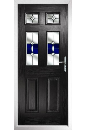 The Oxfordshire Black Composite Door with Blue Crystal Bohemia