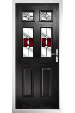 The Oxfordshire Black Composite Door with Red Crystal Bohemia