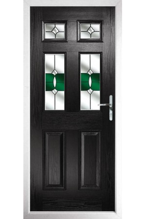 The Oxfordshire Black Composite Door with Green Crystal Bohemia
