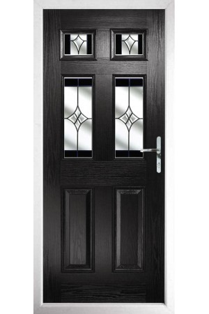 The Oxfordshire Black Composite Door with Black Crystal Harmony