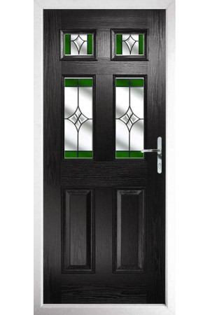 The Oxfordshire Black Composite Door with Green Crystal Harmony