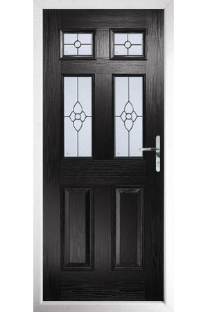 The Oxfordshire Black Composite Door with Finesse Glazing