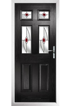 The Oxfordshire Black Composite Door with Red Fusion Ellipse