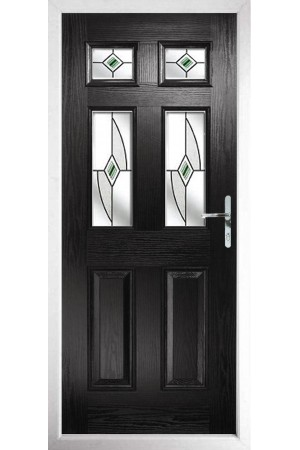 The Oxfordshire Black Composite Door with Green Fusion Ellipse