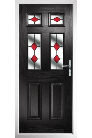 The Oxfordshire Black Composite Door with Red Diamonds