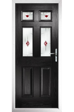The Oxfordshire Black Composite Door with Red Murano