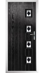 The Portsmouth Black Composite Door with Black Diamonds