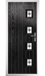 The Portsmouth Black Composite Door with Black Fusion Ellipse