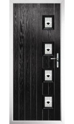 The Portsmouth Black Composite Door with Black Murano