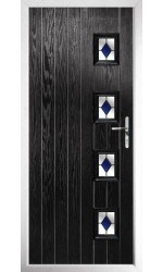 The Portsmouth Black Composite Door with Blue Diamonds