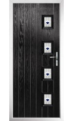 The Portsmouth Black Composite Door with Blue Murano
